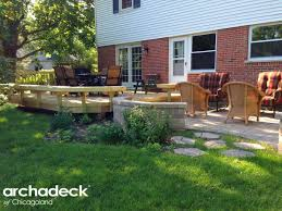 Deck And Patio Combination Pictures by Wood Deck With Paver Patio And Stone Steppers Archadeck Of