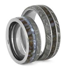 matching rings meteorite wedding band set with matching dinosaur bone titanium