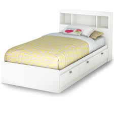 Bookcase Headboard With Drawers White Varnished Mahogany Wood Twin Platform Bed Frame With