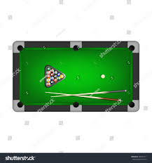 Billiards Balls Triangle Two Cues Stock Vector