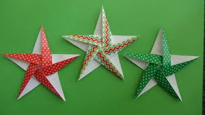 christmas themed 5 pointed origami stars