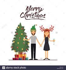 champagne celebration cartoon christmas tree illustration female gift stock photos u0026 christmas