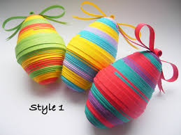 set of 3 striped quilled eggs easter decoration paper