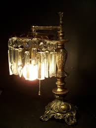 gorgeous antique victorian electric table lamp w crystal lustres