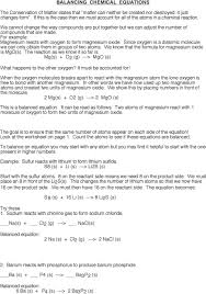 Chemical Equations And Reactions Worksheet Identifying And Balancing Chemical Equations