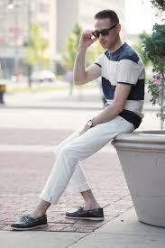 white denim simple summer casual he spoke style