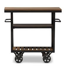 Meryland White Modern Kitchen Island Cart Baxton Studio Kennedy Rustic Industrial Style Antique Black