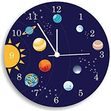 Kids Space Room by Amazon Com The Solar System Wall Clock Kids Bedroom Wall Clock