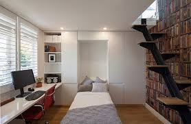 Home Office Designs Home Office With A Hidden Bed And Ample - Modern home office design