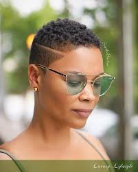 twa pixie on long hair tapered haircut with a disconnected side part twa black woman