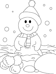 happy snowman snow field coloring pages download free