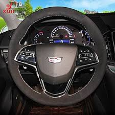 cadillac cts steering wheel amazon com sewing suede black genuine leather steering wheel