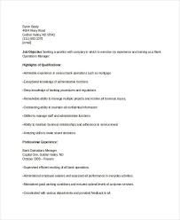Sample Resume For Banking Operations by Banking Resume Samples 45 Free Word Pdf Documents Download