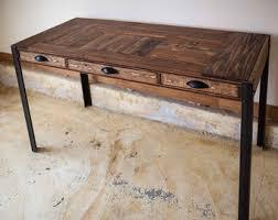 Wood Table With Metal Legs Repurposed Pallet Wood Desk With Metal Legs