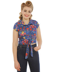 tie front blouse rania quaint floral blouse vintage inspired fashion lindy bop