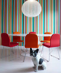 10 dining rooms with snazzy striped accent walls view in gallery bold color field striped wallpaper in the contemporary dining room 10 dining rooms with snazzy striped