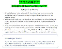 Skills Summary Resume Examples by Sample Highlights Of Qualifications Summary Getting That Job