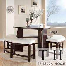 amazon com dining set 4 piece contemporary triangle shaped wood