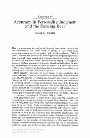 accuracy in personality judgment and the dancing bear springer