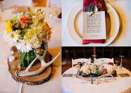 deer antler centerpieces on rounds with jars