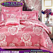 Jacquard Bedding Sets Pink Color Flower Designs Cotton Jacquard Bedding Sets