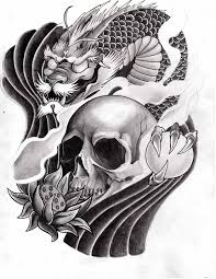 black and grey japanese with skull design