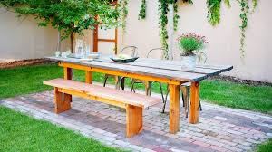 How To Build A Farmhouse Bench Ideas For Outdoor Dining Rooms Sunset