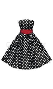 vector black dress with white polka dots with a red belt stock