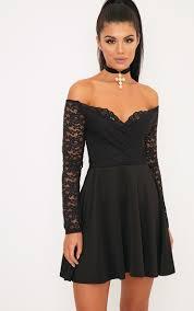 black skater dress luciel black lace sleeve bardot skater dress dresses