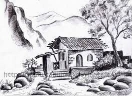 cute huts sketches pencil painting little log cabin pencil drawing