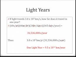 Distance in space light years 0 light years is a measurement in