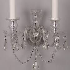 Crystal Wall Sconces Pair Of Antique Engraved Mirror And Cut Crystal Wall Sconces