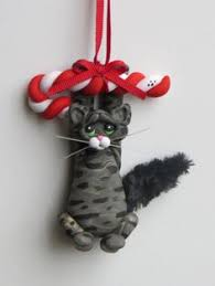 polymer clay black tuxedo cat ornament clay