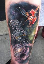 space sleeve with galaxy and exploding shuttle by johnny smith