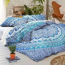 Starry Night Comforter Boho Midnight Black And Teal With Gold Sun Moon And Stars Bedding
