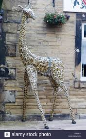 garden ornaments metal giraffe sculpture stock photo