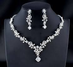 white stones necklace set images Cz diamond cut white stone necklace set n131 jpeg