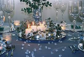 creative of and silver table decorations with blue