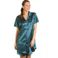 new womens ladies teal green spotted satin night shirt night dress