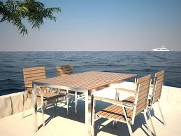 Teak And Stainless Steel Outdoor Furniture by Designer Garden Table In Teak And Stainless Steel With Black Grout