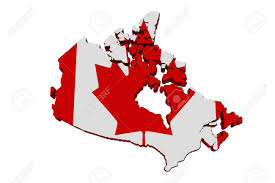 Canada Flag Colors A Red And White Map Of Canada With The Canadian Flag Isolated