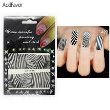 addfavor 4pcs nail art stickers zebra strip gel fingernail beauty
