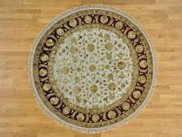 Hand Knotted Rugs India 7 U0027 X 7 U0027 Round Hand Knotted Ivory Rajasthan Oriental Rug Wool And