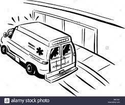 cartoon car black and white black and white drawing of an emergency ambulance stock photo