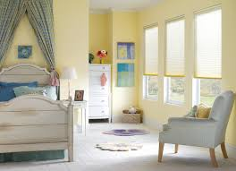 window yellow painted wall design ideas with cellular shades and