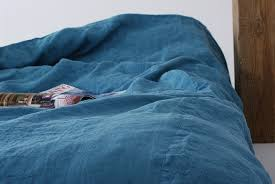 Blue Linen Bedding - natural linen for every room of your house marine blue pure