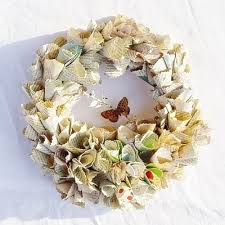 Christmas Decorations Christmas Wreath Old Book Pages by 24 Best Rolled Paper Wreaths Images On Pinterest Paper Wreaths