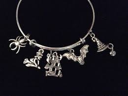 halloween haunted house witch spider and ghost charm bracelet