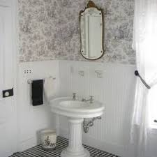 Toile Bathroom Wallpaper by Vintage Bathroom With A