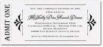 admit one white sparkle business awards invitations